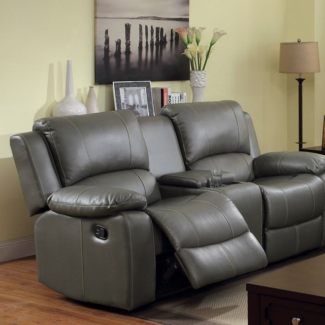 LOVE SEAT  WITH 2 RECLINERS GRAY.