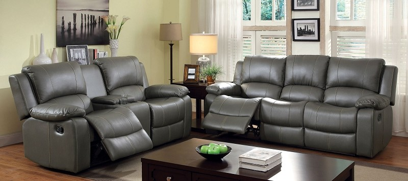 2 PCS SOFA SET WITH 4 RECLINERS GRAY