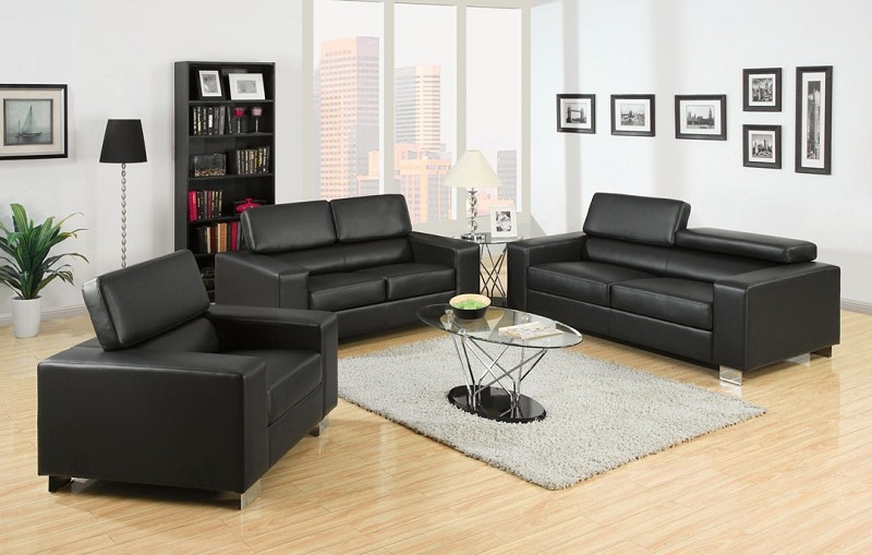SOFA + LOVE SEAT BLACK BONDED LEATHER