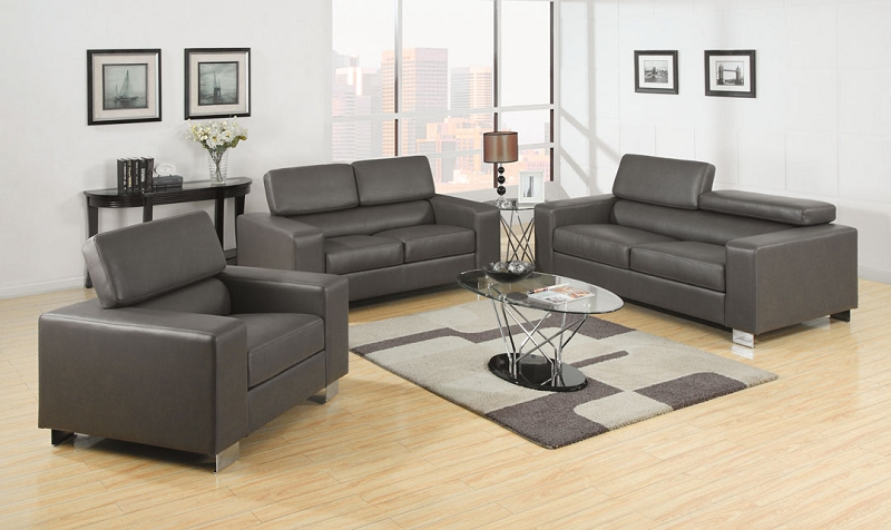 Furniture Of America Sofa + Love Seat Grey Bonded Leather, Cm6336Gy