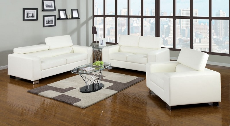 MAKRI SOFA + LOVE SEAT WHITE BONDED LEATHER