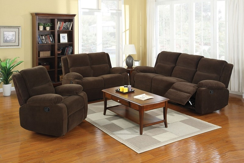 2 PCS SOFA SET WITH RECLINERS DARK BROWN
