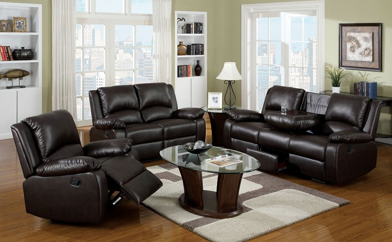 2 PCS SOFA SET WITH 4 RECLINERS & FOLDING CENTER CONSOLE AND DRAWER