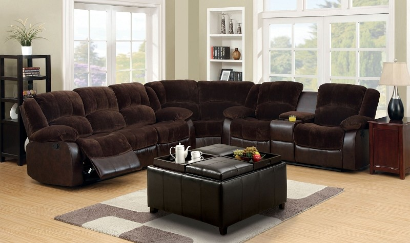 FURNITURE OF AMERICA WINCHESTER SECTIONAL WITH  4 RECLINERS BROWN, CM6556CP/SEC