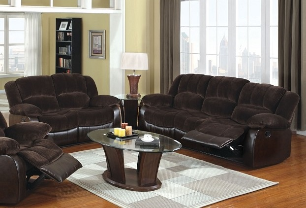 2 PCS SOFA SET WITH RECLINERS BROWN