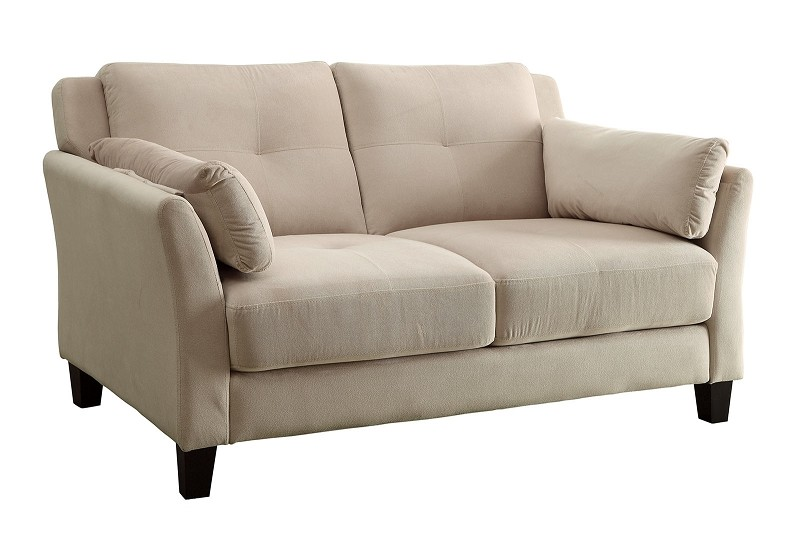 FURNITURE OF AMERICA YSABEL LOVE SEAT  FLANNELETTE BEIGE. CM6716BG-LV