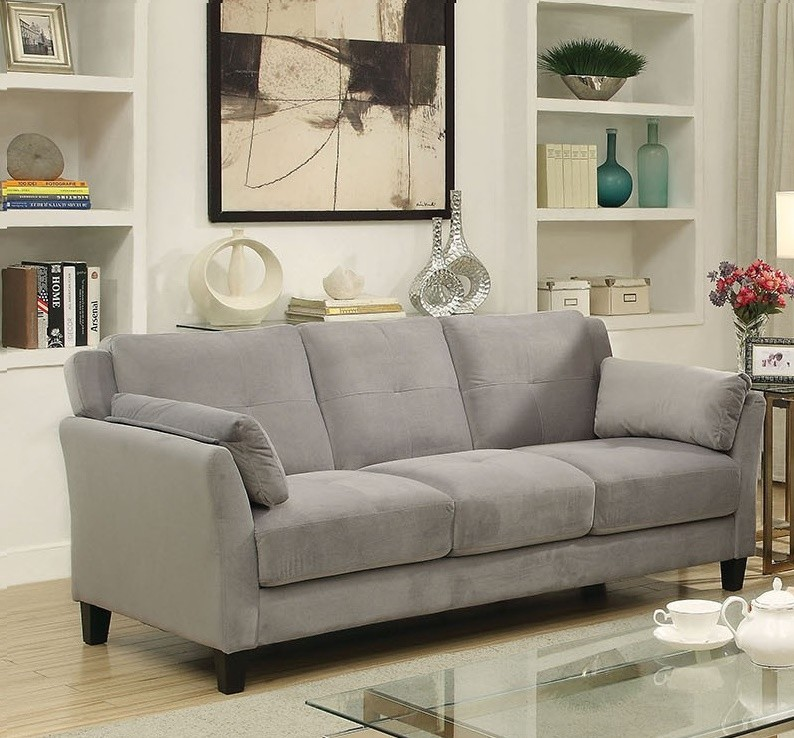 FURNITURE OF AMERICA YSABEL SOFA FLANNELETTE GRAY, CM6716GY-SF