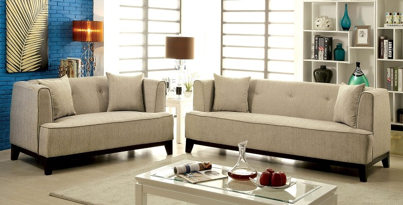 2 PCS SOFA SET BEIGE TEAL