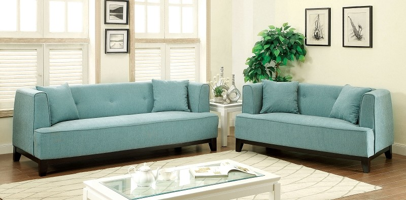 2 PCS SOFA SET BLUE TEAL