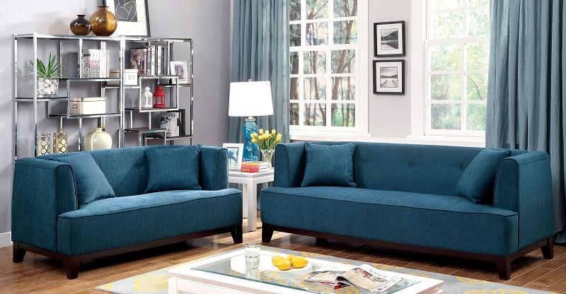 Furniture of america 2 pcs sofa set dark teal cm6761tl for Furniture 4 u