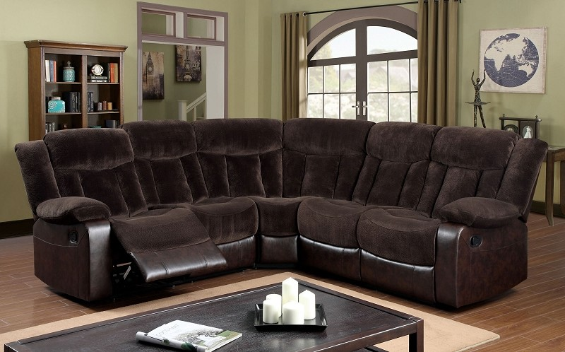 FURNITURE OF AMERICA HAMPSHIRE SECTIONAL WITH 2 RECLINERS BROWN, CM6809