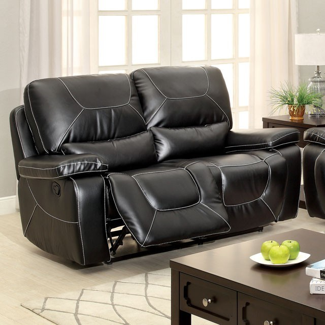 LOVE SEAT WITH 2 RECLINERS BLACK