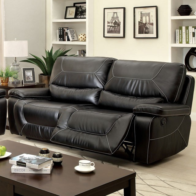 SOFA WITH 2 RECLINERS BLACK