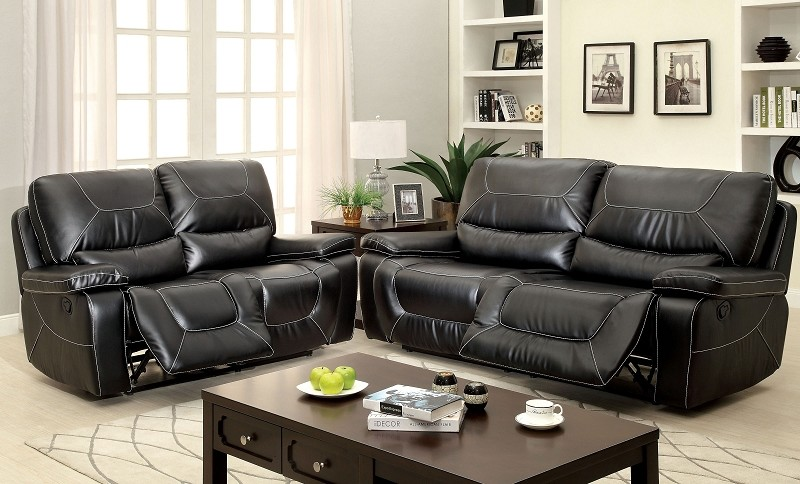 FURNITURE OF AMERICA, 2 PCS SOFA SET WITH 4 RECLINERS BLACK, CM6814BK