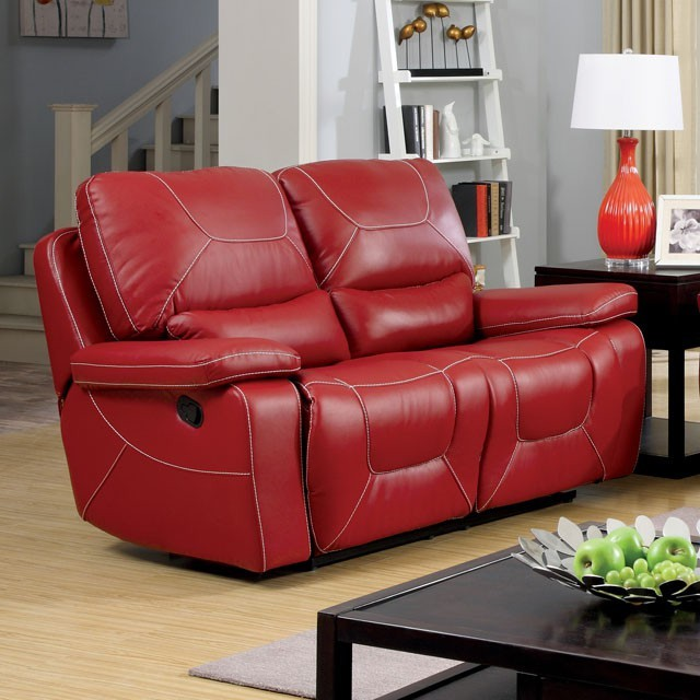 LOVE SEAT WITH 2 RECLINERS RED.