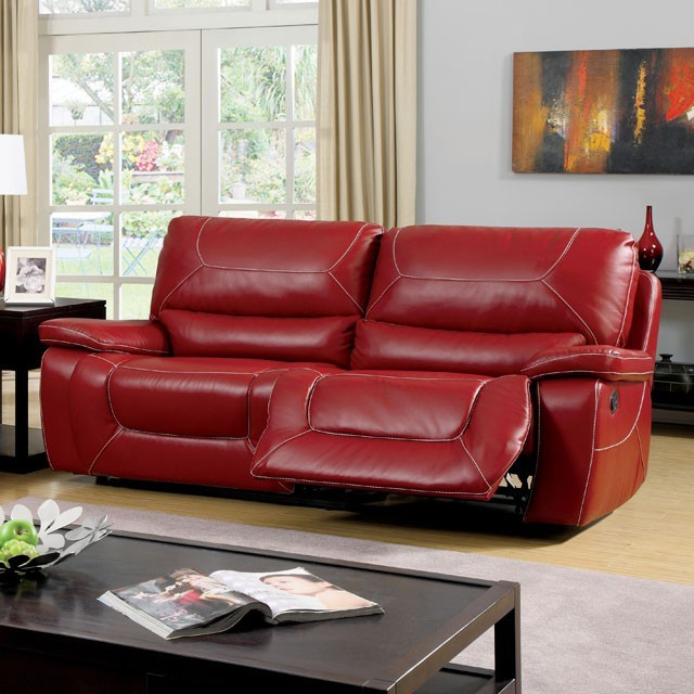SOFA WITH 2 RECLINERS RED