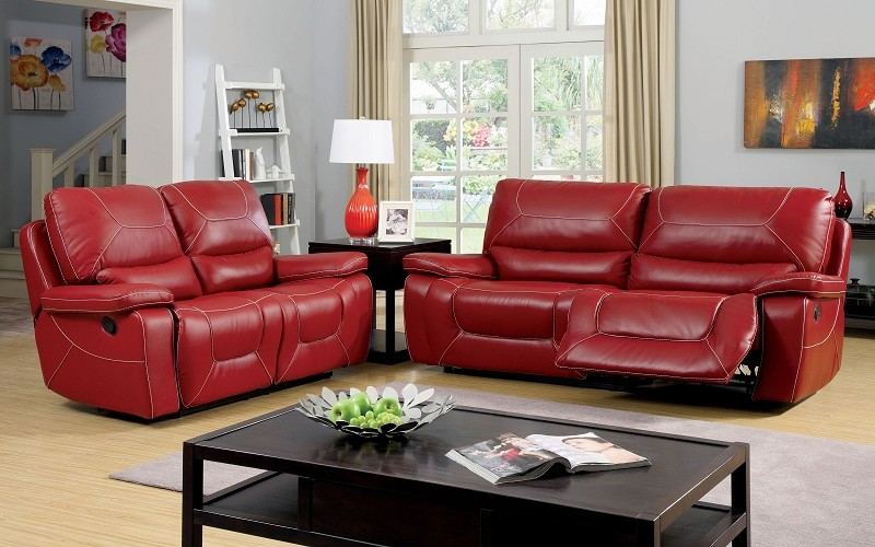 2 PCS SOFA SET WITH 4 RECLINERS RED