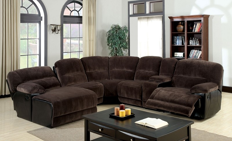 FURNITURE OF AMERICA GLASGOW SECTIONAL WITH 2 RECLINER & PUSH BACK CHAISE, CM6822