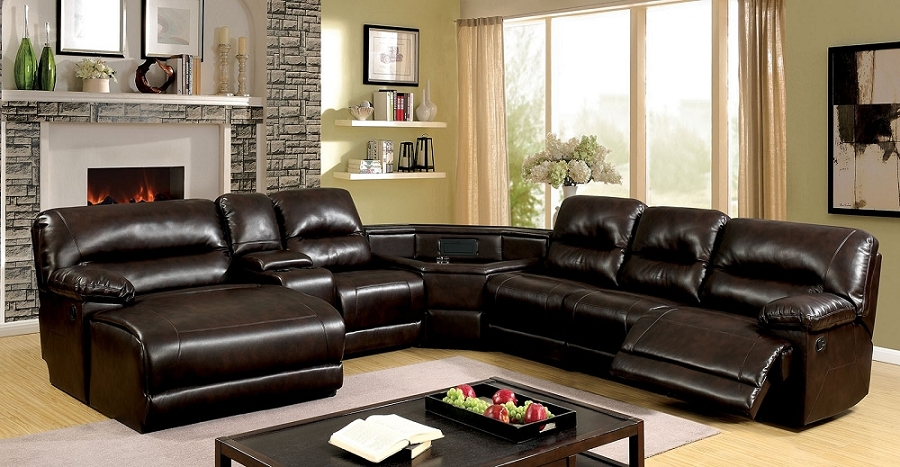 FURNITURE OF AMERICA GLASCOW SECTIONAL WITH RECLINER & PUSH BACK CHAISE BROWN, CM6822BR