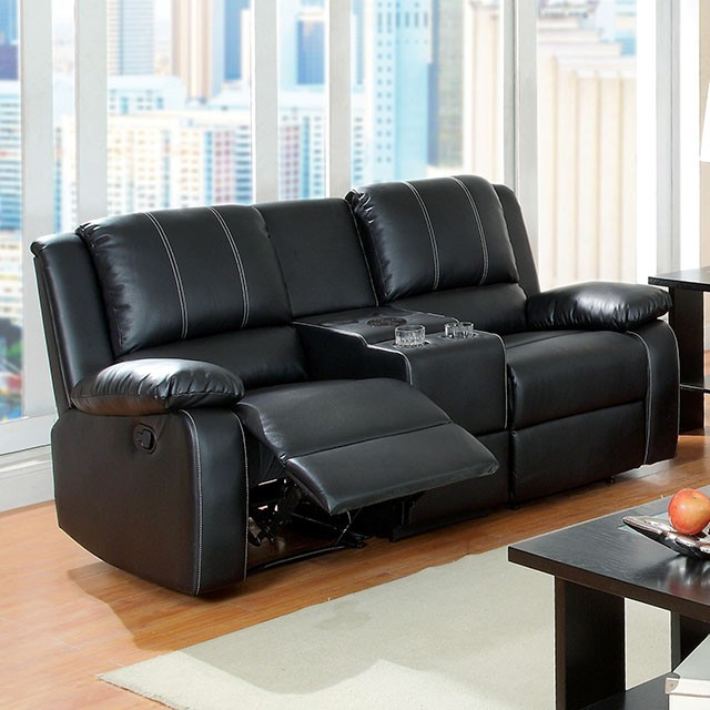 LOVE SEAT  SET WITH 2 RECLINERS AND SPEAKER CONSOLE .