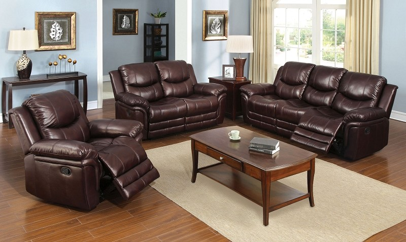 2 PC SOFA SET WITH 4 RECLINERS BROWN