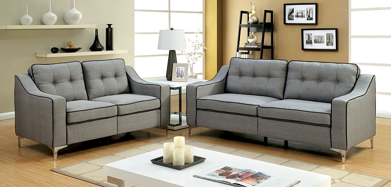 FURNITURE OF AMERICA GLENDA 2 PCS SOFA SET GRAY COLOR, CM6850GY