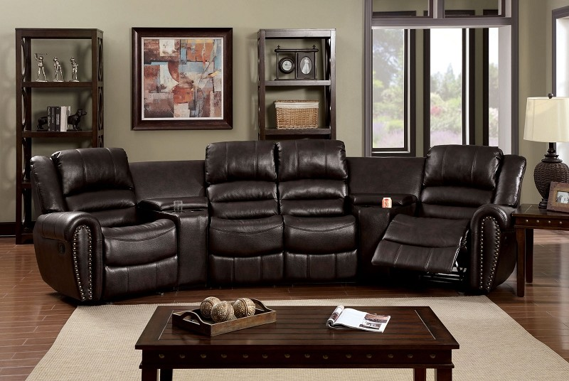 FURNITURE OF AMERICA WASHBURN SECTIONAL WITH 2 CONSOLES AND 2 RECLINERS RUSTIC BROWN.