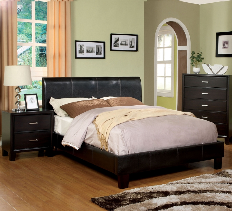 Furniture of america eastern king bed espresso cm7007 ek for American home furniture and mattress