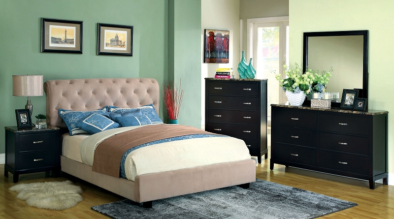Furniture Of America Cal King Bed Beige Velvet Fabric