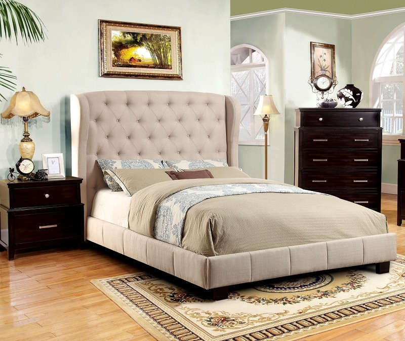 QUEEN BED IVORY PADDED FLAX FABRIC