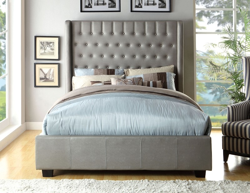 QUEEN BED SILVER PADDED