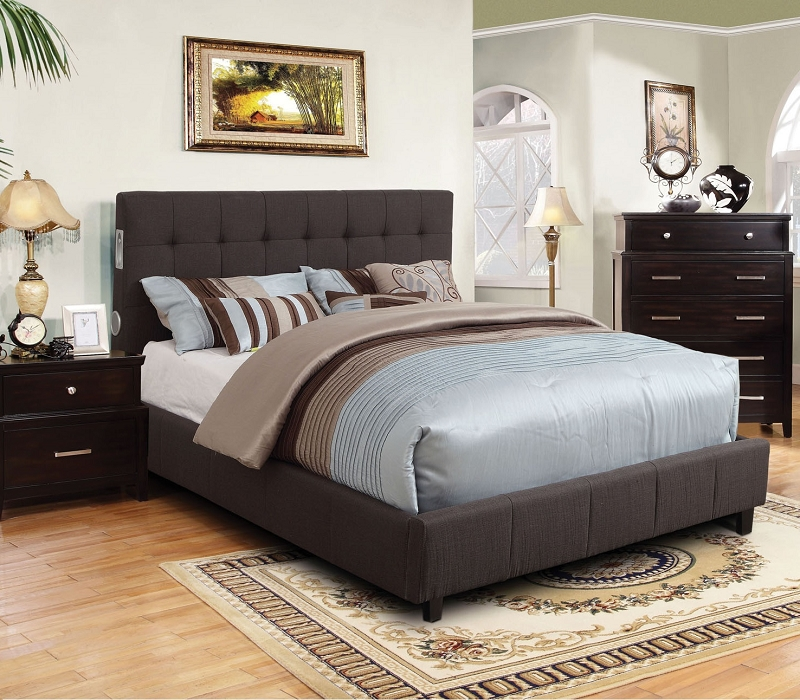 Furniture Of America Eastern King Bed Gray Fabric W