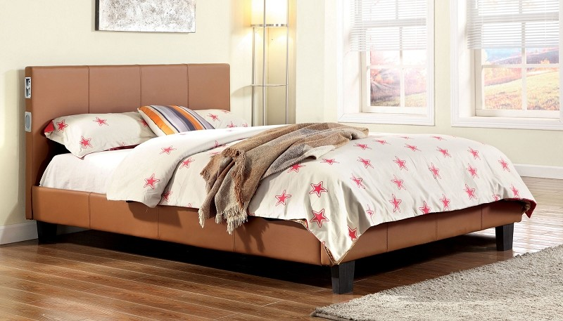 QUEEN BED CAMEL  WITH BLUETOOTH