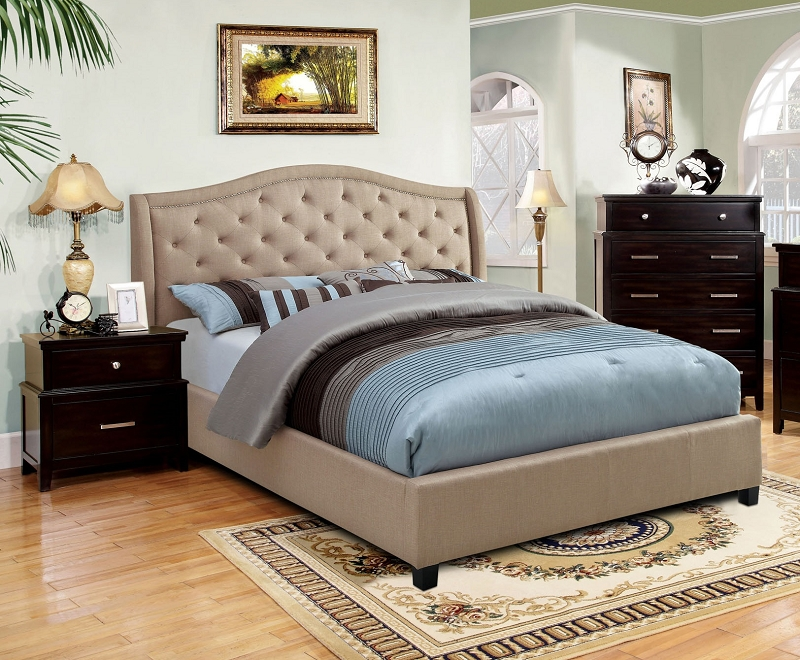 Furniture of america marisko eastern king bed taupe cm7161ek for Furniture of america king bed
