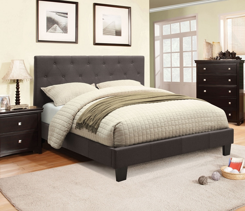 Furniture Of America Eastern King Bed Gray Fabric Cm7200ek