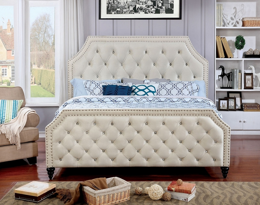 FURNITURE OF AMERICA CLAUDINE QUEEN SIZE BED FRAME, CM7675
