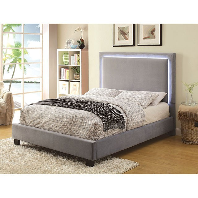 FURNITURE OF AMERICA ERGLOW I BRAND NEW GRAY FLANNELETTE QUEEN SIZE BED WITH LED TRIM, CM7695GY