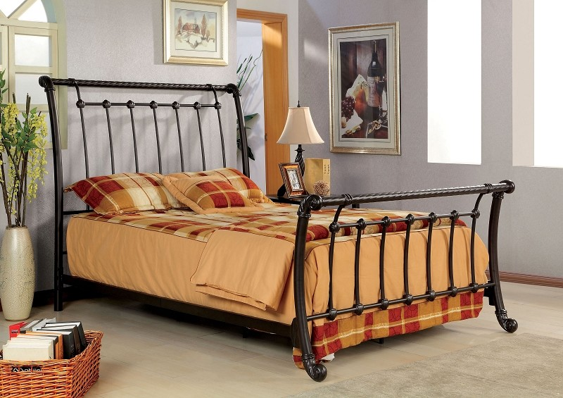 QUEEN BED BRUSHED BRONZE FINISH