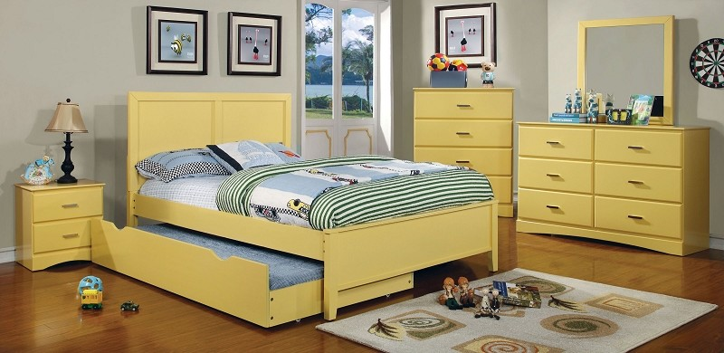 FURNITURE OF AMERICA, TWIN BED YELLOW, CM7941YW