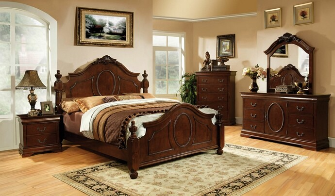 BEDROOM SET QUEEN SIZE BED+DRESSER+MIRROR+1NIGHT STAND