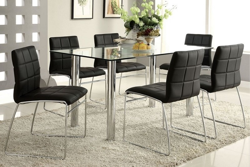 7PCS DINING TABLE GLASS TOP + 6 SIDE CHAIRS