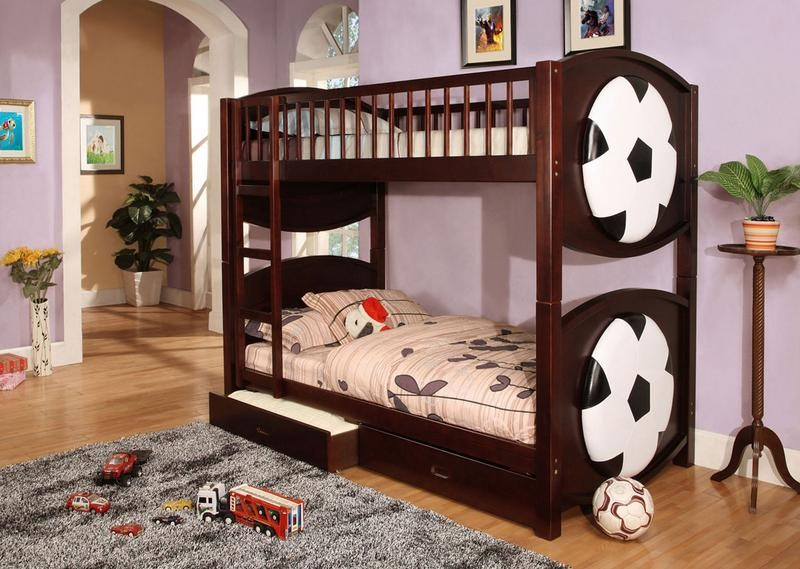 TWIN TWIN BUNK BED SOCCER WITH TWO DRAWERS