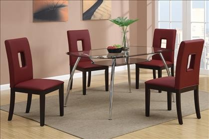 5PCS GLASS TOP DINING TABLE + 4COLOR PARSON CHAIRS