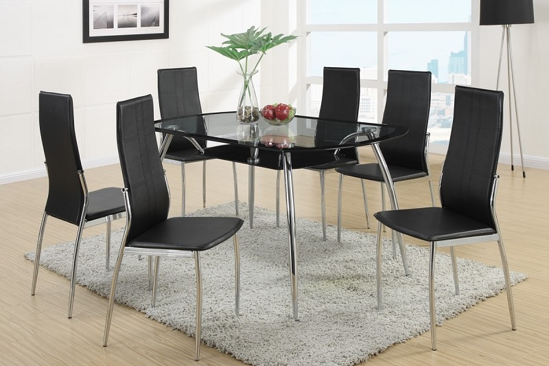 POUNDEX, 7PCS DINETTE SET GLASS TOP, F2225, F1277