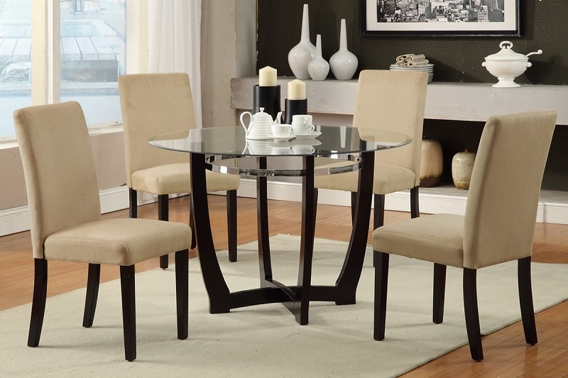 POUNDEX 5PC DINETTE SET GLASS TOP HAZELNUT MICROFIBER CHAIRS, F2348