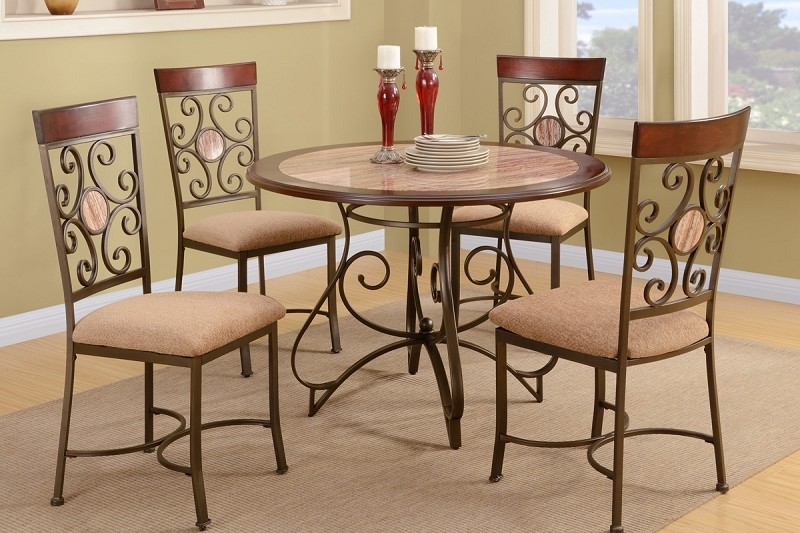 5PCS METAL FRAME DINING TABLE + 4 CHAIRS