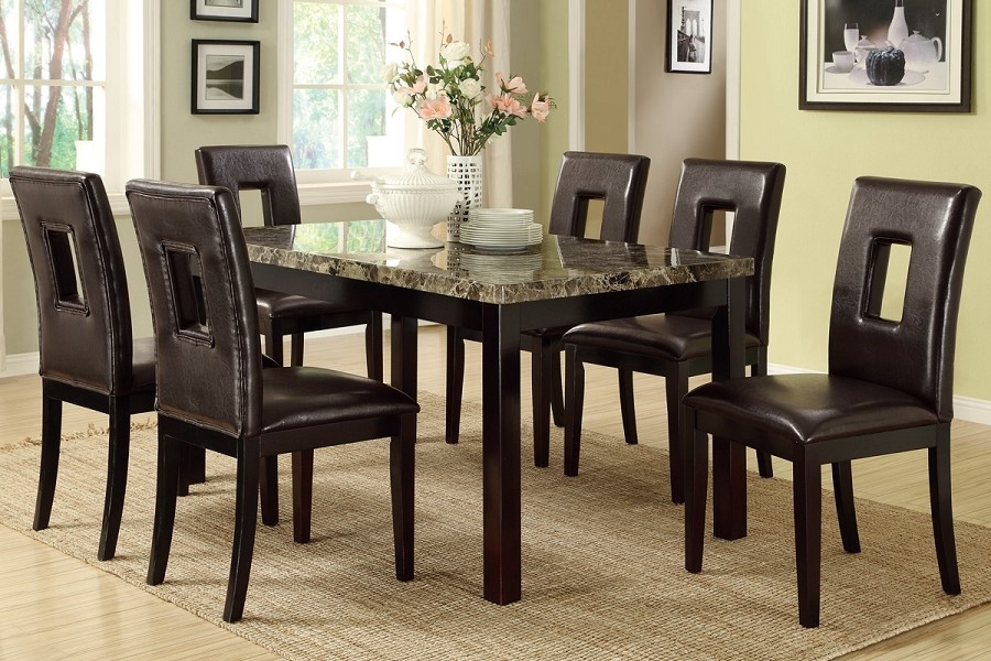 POUNDEX ,7 PC DINETTE SET, TABLE+6 CHAIRS, F2093, F1051