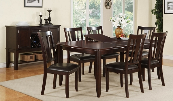 POUNDEX 7PC DINETTE SET DEEP BROWN FINISH, F2179, F1285