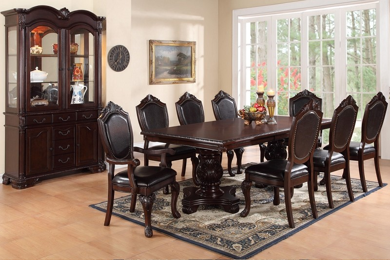 POUNDEX, 9 PCS FORMAL DINING SET, F2182, F1395, F1396