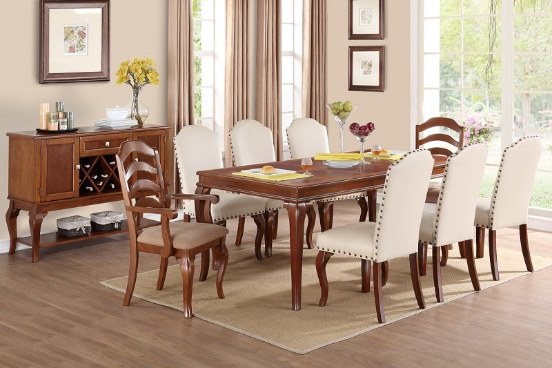 POUNDEX, 9 PCS FORMAL DINNING SET, F2190, F1399, F1398